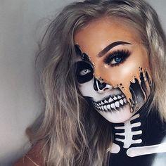 23 Halloween-Skelett-Make-up-Ideen - Frisuren.it - Halloween make-up - Unique Halloween Makeup, Halloween Looks, Scary Halloween, Halloween Skeleton Makeup, Halloween 2020, Halloween Costumes, Pretty Skeleton Makeup, Pirate Halloween, Pretty Makeup