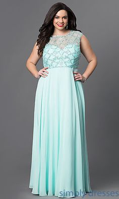 Long Beaded Sheer Bodice Cap Sleeve Dress