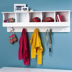 Pigeonhole Wall Shelf and Hooks - Coat Stands & Peg Rails - Storage - gltc.co.uk