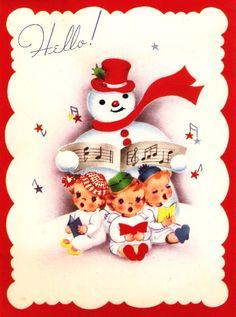 Vintage Christmas Card Snowman Caroling Angels by PaperPrizes. #vintage #Christmas #cards