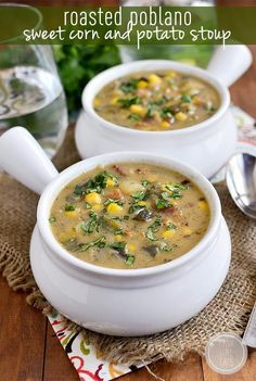 Thicker than soup yet thinner than stew, Roasted Poblano, Sweet Corn and Potato Stoup is a warming and filling gluten-free soup recipe. You will go back for bowl after bowl. | iowagirleats.com