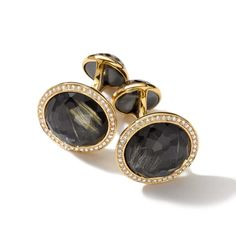 Gold Lollipop Cuff Links in Rutilated Quartz and Hematite Doublet with Diamonds Vintage Cufflinks, Men's Cufflinks, Rutilated Quartz, Sharp Dressed Man, Mens Clothing Styles, Precious Metals, 18k Gold, Men Dress, Gemstone Rings