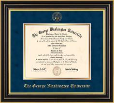 George Washington U Diploma Frame-Satin Black-Seal-Navy Suede on Gold – Professional Framing Company