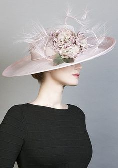 R1681 - Pale pink straw sidesweep hat with handmade silk flowers and ostrich feathers