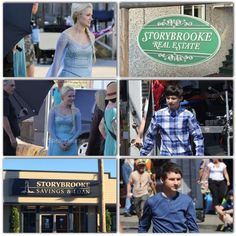 "BTS photos of Georgina Haig and Jared Gilmore, for Ep. 4x01, ""A Tale of Two Sisters."""