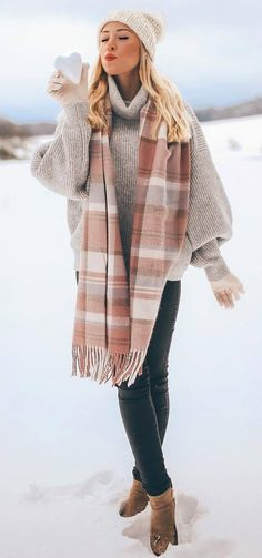 4b7f3a9430a50 cozy winter outfit   hat knit sweater stripped scarf skinnies boots Sweater  Weather Outfits