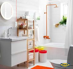 A great bathroom needs to make the most of busy mornings and relaxing nights. Find smart bathroom solutions with IKEA to help organize it all.