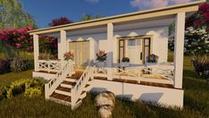 Tiny House Cottage Plans and Designs Small 1 Bedroom Home Permanent Foundation Building A Tiny House, Tiny House Plans, House Floor Plans, Arched Windows, Large Windows, One Bedroom House, Small Sitting Areas, Window In Shower, Covered Front Porches