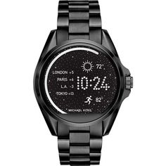 Michael Kors Bradshaw Black IP Display Smartwatch ($350) ❤ liked on Polyvore featuring jewelry, watches, black, round watches, stainless steel jewellery, michael kors jewelry, stainless steel jewelry and michael kors