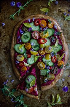 Greek Salad Pizza with Beet Hummus
