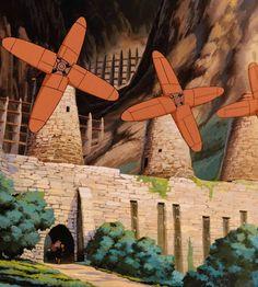 Cenários ghibli: Os moinhos que aproveitam a força do vento, em' nausicaä do vale do vento' ( hayaomiyazaki , 1984 )