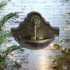 Decorative Water Fountain, Water Fountain Design, Decorative Fountains, Outdoor Wall Fountains, Garden Water Fountains, Fountain Ideas, Indoor Outdoor, Outdoor Walls, Fountain Lights