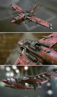 Warhammer Orks Jet / Bommer by Christian Gross Arte Steampunk, Steampunk Airship, Concept Ships, Concept Art, Sci Fi Models, Spaceship Design, Diesel Punk, Futuristic Technology, Aircraft Design