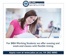 ADUC offers a very flexible Evening Program that allows you to get your Bachelor of Business Administration in Accounting,Marketing & Human Resource Management while your working! Email us on info@aduc.ac.ae or call us on 04 282 6880 #BusinessAdministration #BBA #BBA_In_Dubai #Study_in_Dubai #Spring2017 #Spring #Admissions #BachelorDegree #accounting #marketing #HRM #Higher #Education #Dubai #UAE #MyAduc