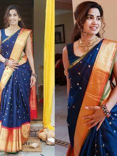 Indian Silk Sarees, Indian Beauty Saree, Designer Silk Sarees, Designer Dresses, Long Dress Design, Orange Saree, Sari Dress, Saree Models, Stylish Sarees