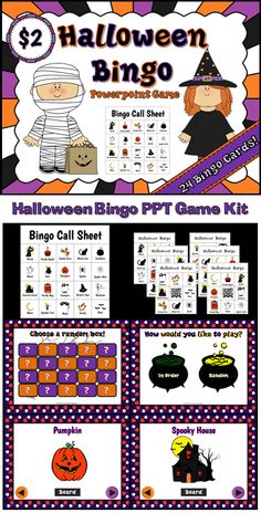 """Here's a Halloween bingo game I made. Comes with everything you need (except chips and prizes). Use the powerpoint included to have students identify the correct Halloween pictures on their bingo sheet. The words are under each picture. Each bingo card has 9 squares (8 pictures, 1 """"trick or treat"""" free space). Each sheet has different pictures so only one or two students will get bingo at a time (no 2 sheets are exactly the same). Great for Halloween parties."""