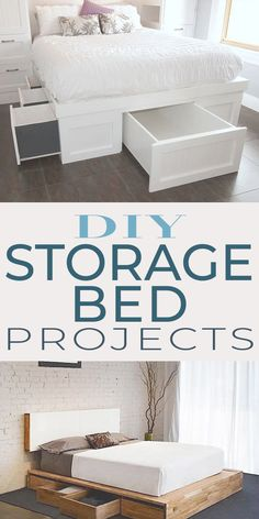 Save money building your own bed, and save space with extra storage! Check out these DIY projects and tutorials! Save money building your own bed, and save space with extra storage! Check out these DIY projects and tutorials! Diy Storage Projects, Diy Storage Bed, Diy Furniture Projects, Bedroom Storage, Diy Bedroom Decor, Bedroom Furniture, Home Furniture, Extra Storage, Diy Projects