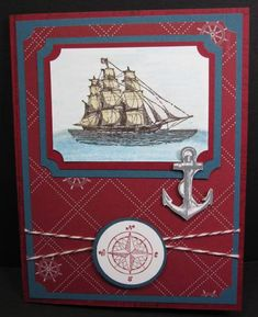 Splitcoaststampers FOOGallery - Open_Sea_by_pcgaynor Nautical Cards, Nautical Anchor, Masculine Birthday Cards, Masculine Cards, Homemade Birthday Cards, Homemade Cards, Beach Cards, Sailboats, Crafts For Teens