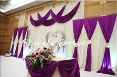 White & Purple Backdrops for wedding ceremony