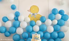 for this rubber duck themed party the background was imitating the bubles