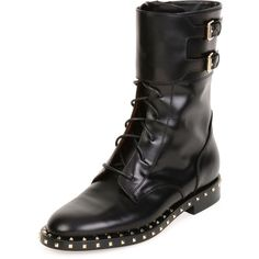 Soul Stud Rockstud Leather Moto Boot, Nero/Platino by Valentino at Neiman Marcus. Flat Leather Boots, Leather Motorcycle Boots, Biker Boots, Calf Leather, Flat Boots, Ankle Boots, Valentino Boots, Valentino Garavani Shoes, Engineer Boots