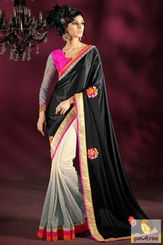 Shop online black and grey net georgette wedding wear saree online shopping. Purchase fashionable butti and embroidery work saree with special discount prices for marriage season 2015-2016. #saree, #sari, #designersaree, #weddingwearsaree, #partywearsaree, #marriagewearsaree, #Indianweddingsaree, #pavitraafashion More : http://www.pavitraa.in/store/designer-sarees/ Call / WhatsApp : +91-76982-34040  E-mail: info@pavitraa.in