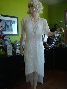 1920s Flapper Fringed wedding dress Great Gatsby  Boardwalk Empire Reception alternative dress