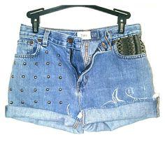 {{Hand studded shorts}} Originally high waisted flare shorts, cut off and added embellishments and pocket design GAP Shorts Jean Shorts
