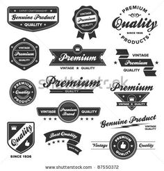 stock vector : Set of vintage retro premium quality badges and labels