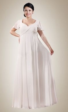 Trendy Empire Sheath V-neck Ruched Plus Size Wedding Dress