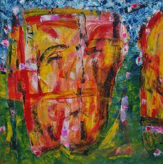 Two-face  Olie på lærred  (60x60) 2014 af Svend Christensen