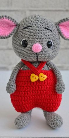 Educational and interesting ideas about amigurumi, crochet tutorials are here. Crochet Baby Toys, Crochet Mouse, Crochet Amigurumi Free Patterns, Crochet Animal Patterns, Stuffed Animal Patterns, Crochet Dolls, Crochet Animals, Crochet Rabbit, Crochet Basics