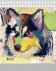 Dog Art of Siberian Husky on Paper Print