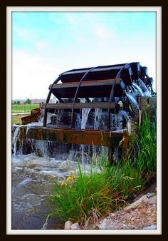 Historic water wheels in New Plymouth, Idaho were built in 1920's.  They are wonderful to see and are still in operation along the Noble Irrigation Canal.  In all, there are 5 water wheels.