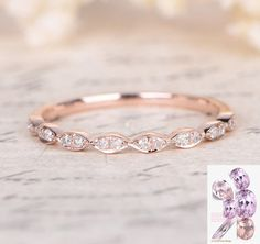 Pave Diamond Wedding Band Half Eternity Anniversary Ring Rose Gold one on each side of the engagement ring would so cute! Matching Wedding Rings, Wedding Rings Rose Gold, Matching Rings, Diamond Wedding Bands, Wedding Jewelry, Gold Jewelry, Rose Gold Eternity Ring, Rose Gold Bands, Simple Wedding Bands
