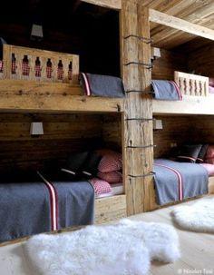 Off Piste: Stunning Ski Chalet Decor   red check bed linen, natural timber, dark grey!
