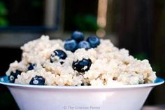 Clean Eating Coconut Blueberry Quinoa With Lime - to make FODMAP Friendly omit honey & use rice syrup