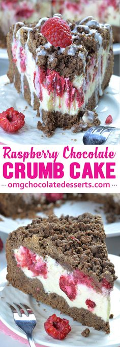 Chocolate Raspberry Cheesecake Crumb Cake - If you love cheesecake, chocolate cake, coffee cakes or crumb cakes, this delicious combo of those three desserts packed in one yummy cake will sweep you of your feet.