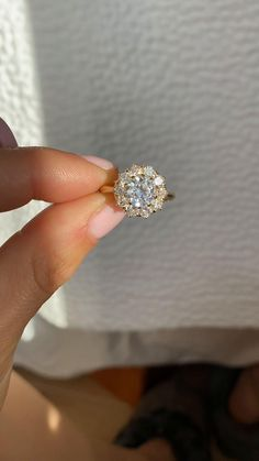 Yellow Gold Vintage Inspired Engagement Ring by Berlinger Jewelry Diamond Cluster Ring, Halo Diamond Engagement Ring, Diamond Rings, Diamond Cuts, Sag Ja, Vintage Inspired Engagement Rings, European Cut Diamonds, Vintage Diamond, Ring Designs