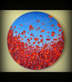 Original Contemporary Fine Art Heavy Impasto Texture Red Flowers Painting Abstract Floral Landscape Wall Decor Artwork  by ZarasShop