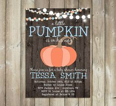 LITTLE PUMPKIN BABY Shower Invitation - Fall Baby Shower Invite - Autumn Baby…