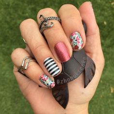 Jamberry Floral Symphony  with Cherry Ice and Black and White Stripe