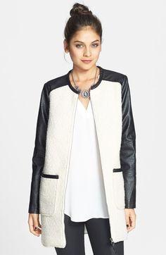 Jolt Colorblock Faux Leather Bouclé Knit Coat (Juniors) available at #Nordstrom #nsale