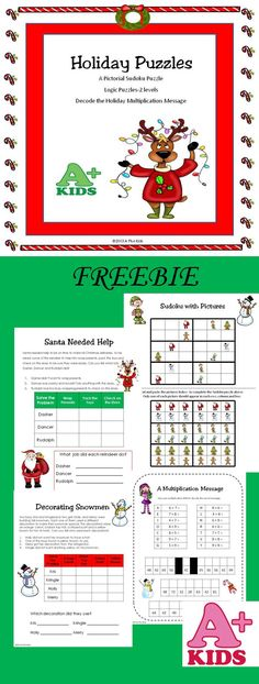 $ I designed this product to thank everyone for shopping at A Plus Kids. It contains 4 different puzzles: one pictorial Sudoku puzzle, 2 logic puzzles (on 2 different levels), and one multiplication holiday message (use multiplication to decode the holiday message).
