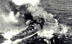 A Japanese subchaser/gunboat suffers a direct hit from US bombers near Japanese territorial waters as what has been left of the Japanese Imperial Navy tries to fight one last battle, June World History, World War Ii, Imperial Japanese Navy, Iwo Jima, Naval History, Story Of The World, Navy Ships, Pearl Harbor, Submarines