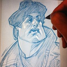 First sketch of 2016. Fingers are rusty.  #ROCKY #caricature #sketch