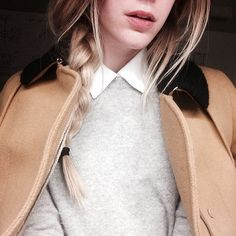 Shop this look on Lookastic:  http://lookastic.com/women/looks/white-dress-shirt-and-grey-crew-neck-sweater-and-camel-pea-coat/3033  — White Dress Shirt  — Grey Crew-neck Sweater  — Tan Pea Coat