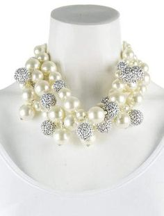 Kenneth Jay Lane Faux Pearl & Crystal Beaded Necklace
