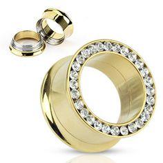 Pair (2) Gold IP CZ Gem Rim Screw Fit Ear Plugs Tunnels Earlets Gauges   eBay