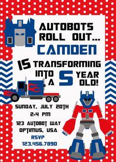 Transformer Birthday 2 Invitation Printable by PolkaDotPinwheel